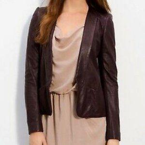 Theory Frima 100% Leather Blazer Jacket Burgundy